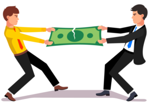 Courtier payant prenant de l'argent à son client