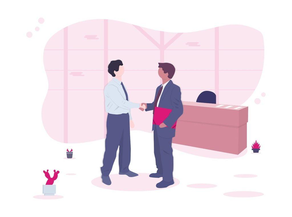 Image de deux hommes se serrant la main