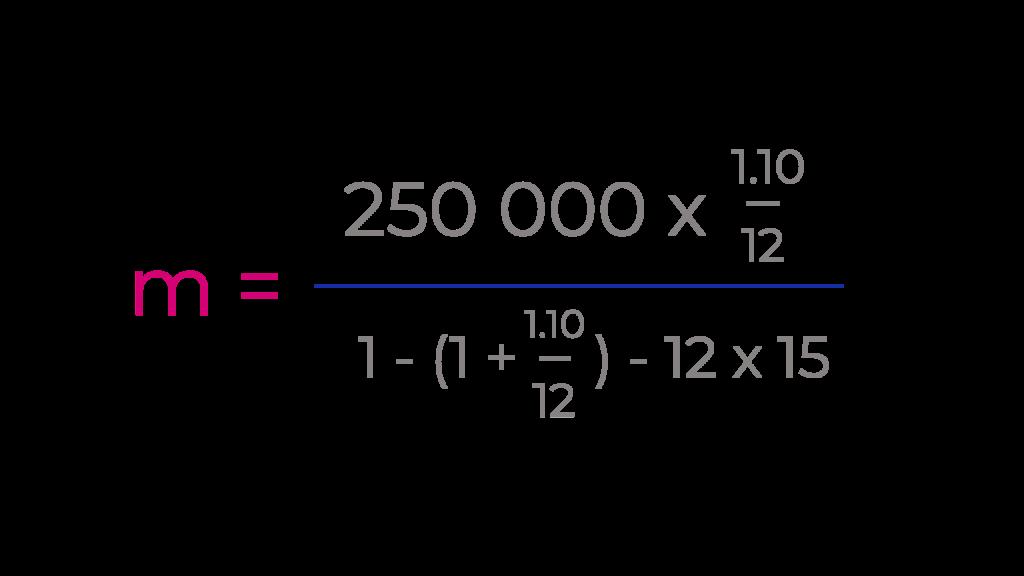 Formule de calcul de taux de prêt immobilier appliquée au cas